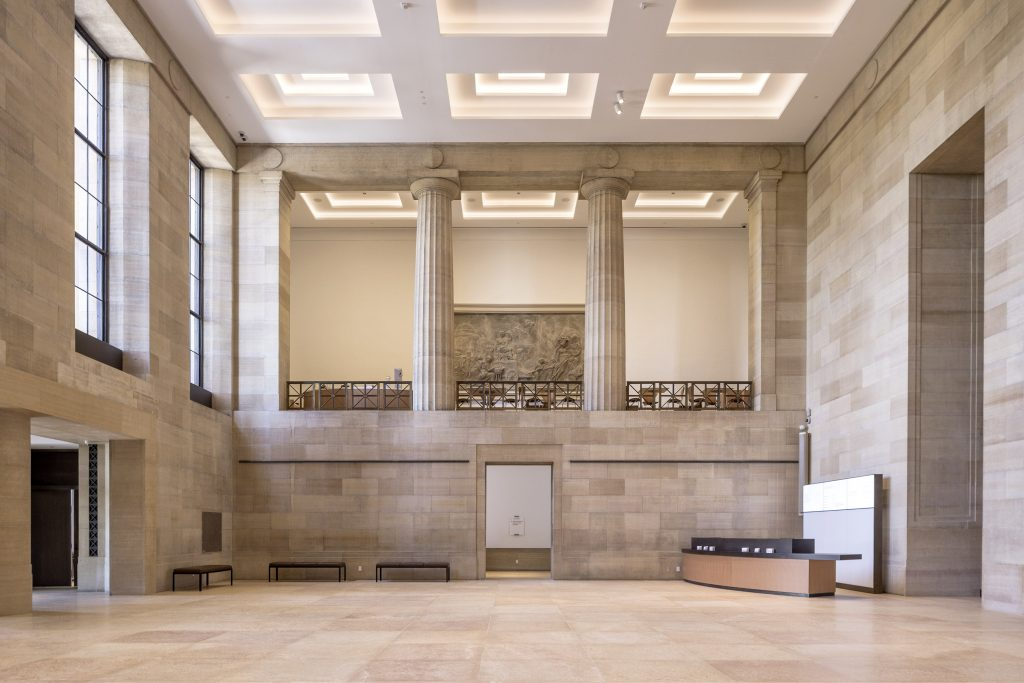 The Philadelphia Museum of Art, coffered ceiling with LED lighting and new floor in Kasota limestone, photo ©Danica O. Kus
