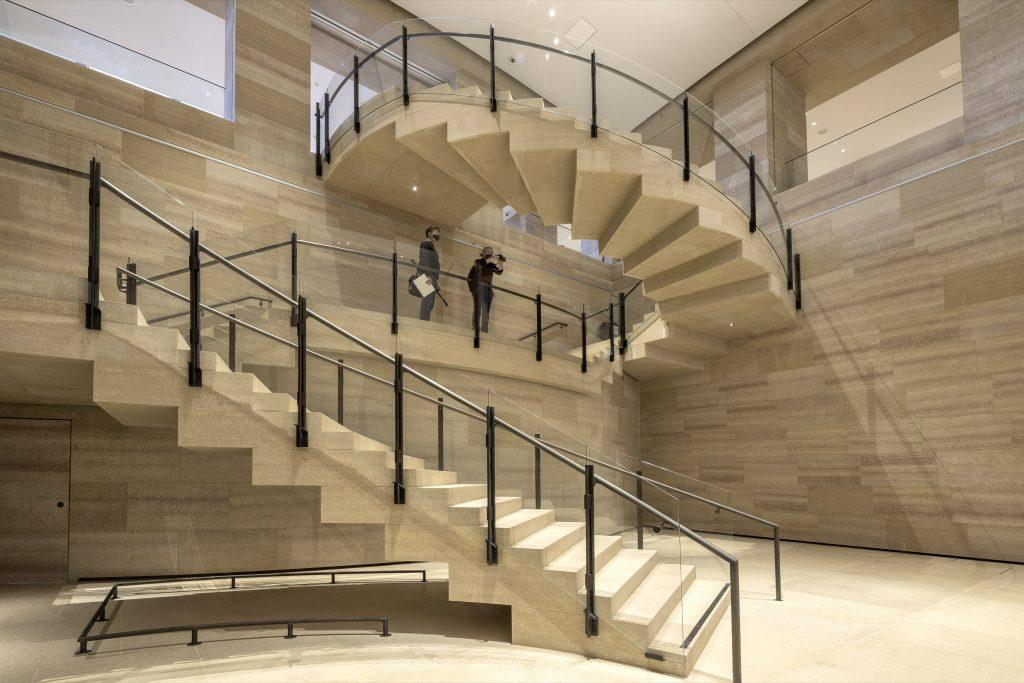 Renovation of Philadelphia Museum of Art Photo, staircase clad in Kasota limestone, photo © Danica O. Kus